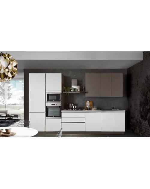 Cucina 363 x 240 H bianco e tortora Asia Step