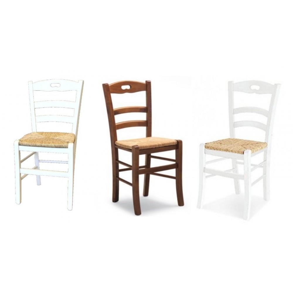 Sedia in legno di faggio e seduta in paglia. Provenza