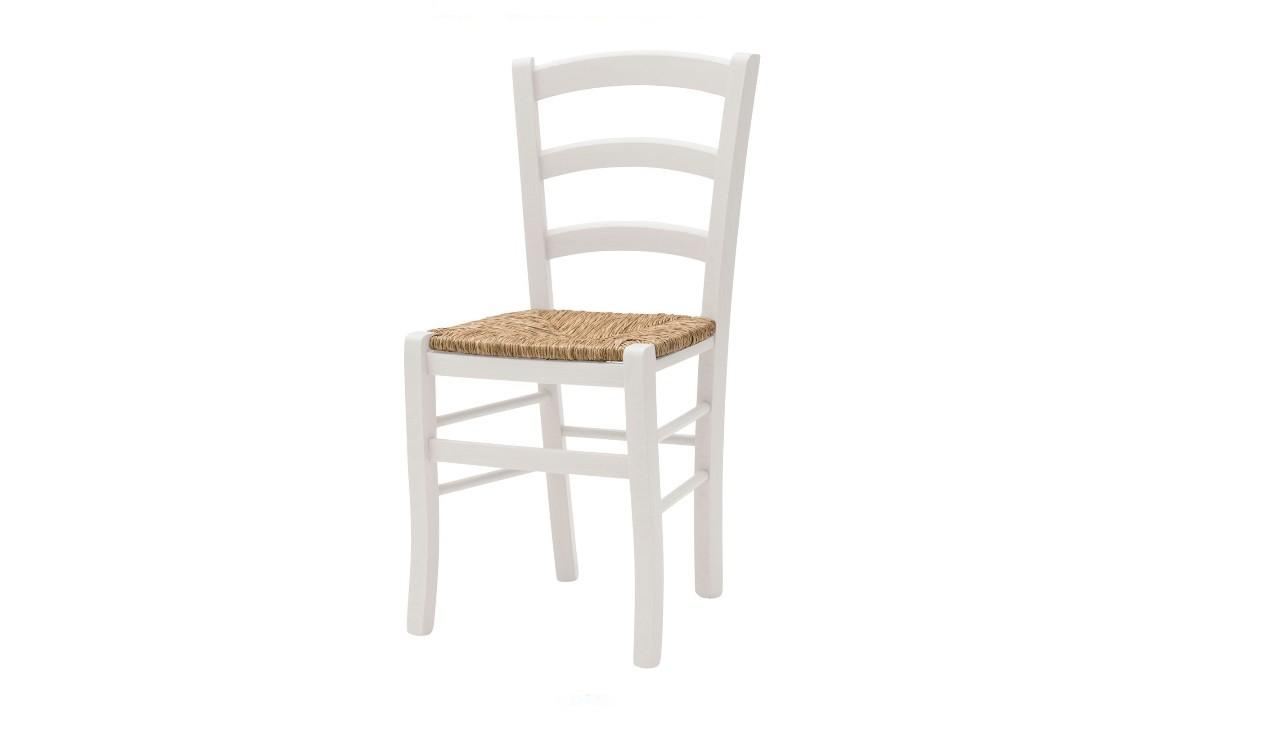 Affare: Sedia bianca in legno massello di faggio seduta in paglia G
