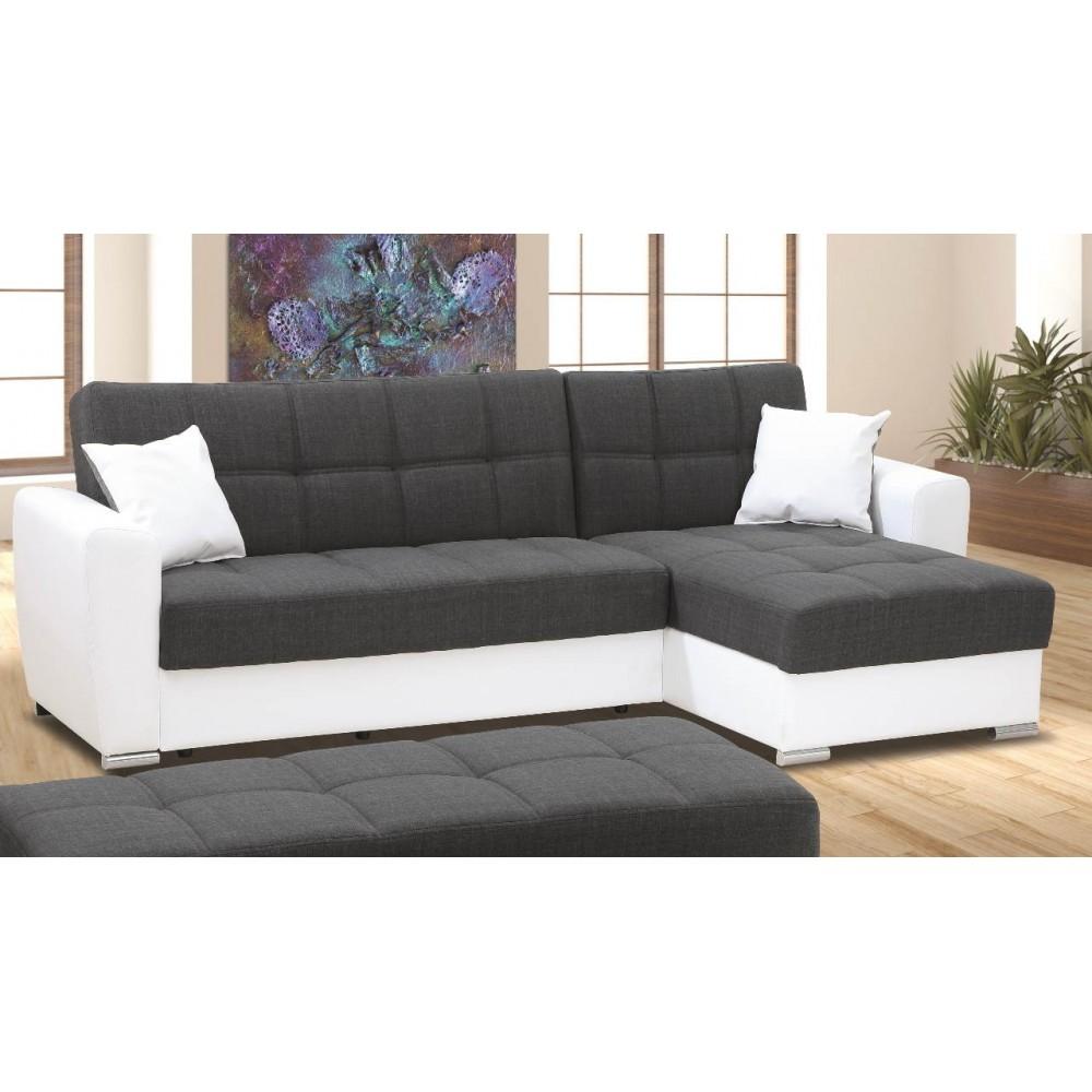 DYNAMIC divano angolare con penisola e contenitore grigio