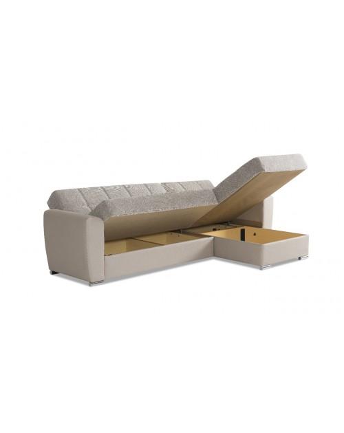 Divano letto con penisola cappuccino contenitore DYNAMIC