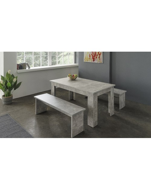 Tavolo con due panche in legno Munchen cemento