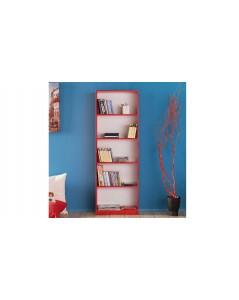 Libreria rossa 5 scomparti 58 x170x23 cm