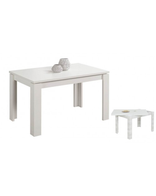 Tavolo raddoppiabile 120x80 cm. Maribor bianco larice