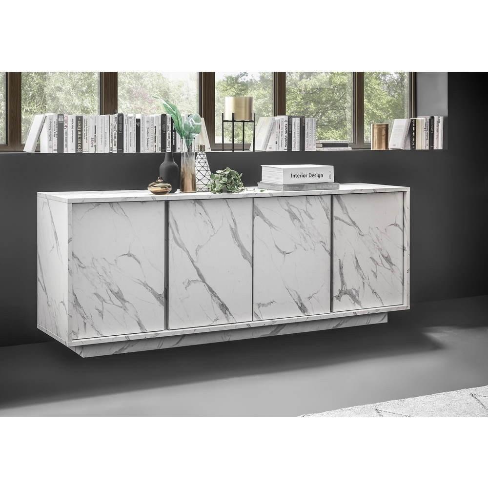 Madia 4 ante effetto marmo bianco Rock 180x43x79h