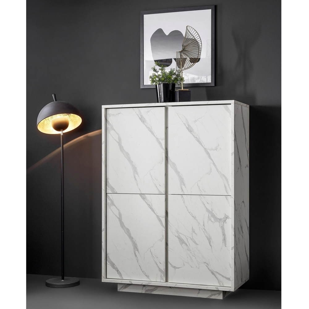 Credenza 4 ante effetto marmo bianco Rock 92x43x145h