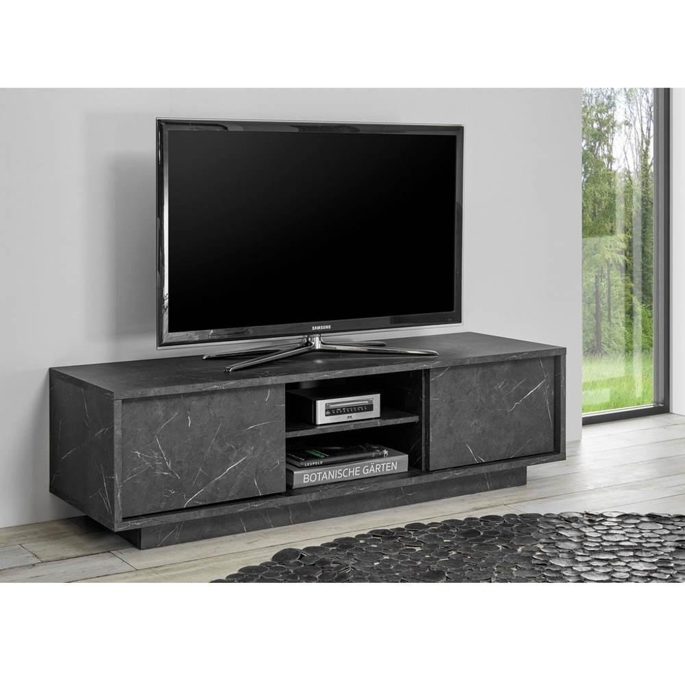 Porta TV 2 ante effetto marmo nero Rock 139x43x44h