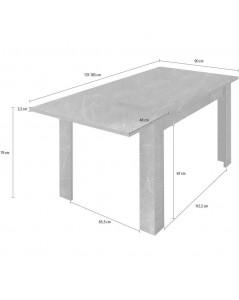 Tavolo allungabile effetto marmo nero Rock 137x90x79h