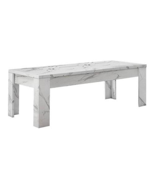 Tavolino basso effetto marmo bianco Rock 122x65x45h