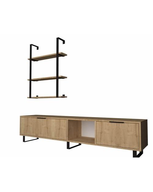 Parete attrezzata 180 cm. porta tv e libreria rovere Zenon