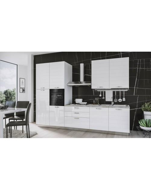 Cucina 330 cm Ade bianco lucido con elettrodomestici