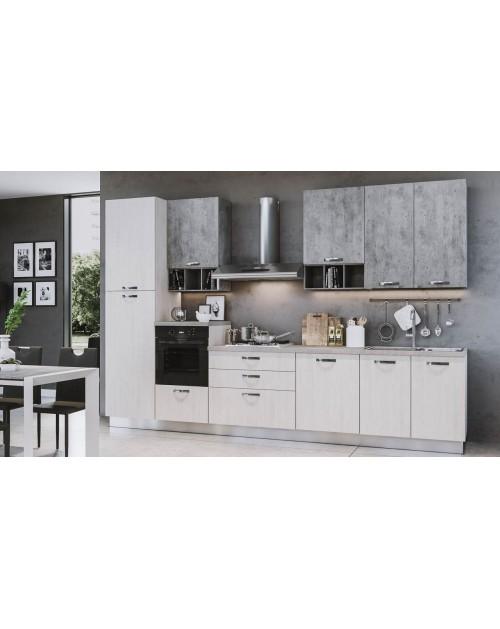 Cucina Athena 360 cm bianco perla cemento