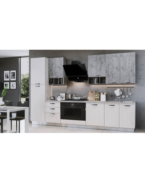 Cucina Athena 360 cm con maxi forno bianco perla cemento.
