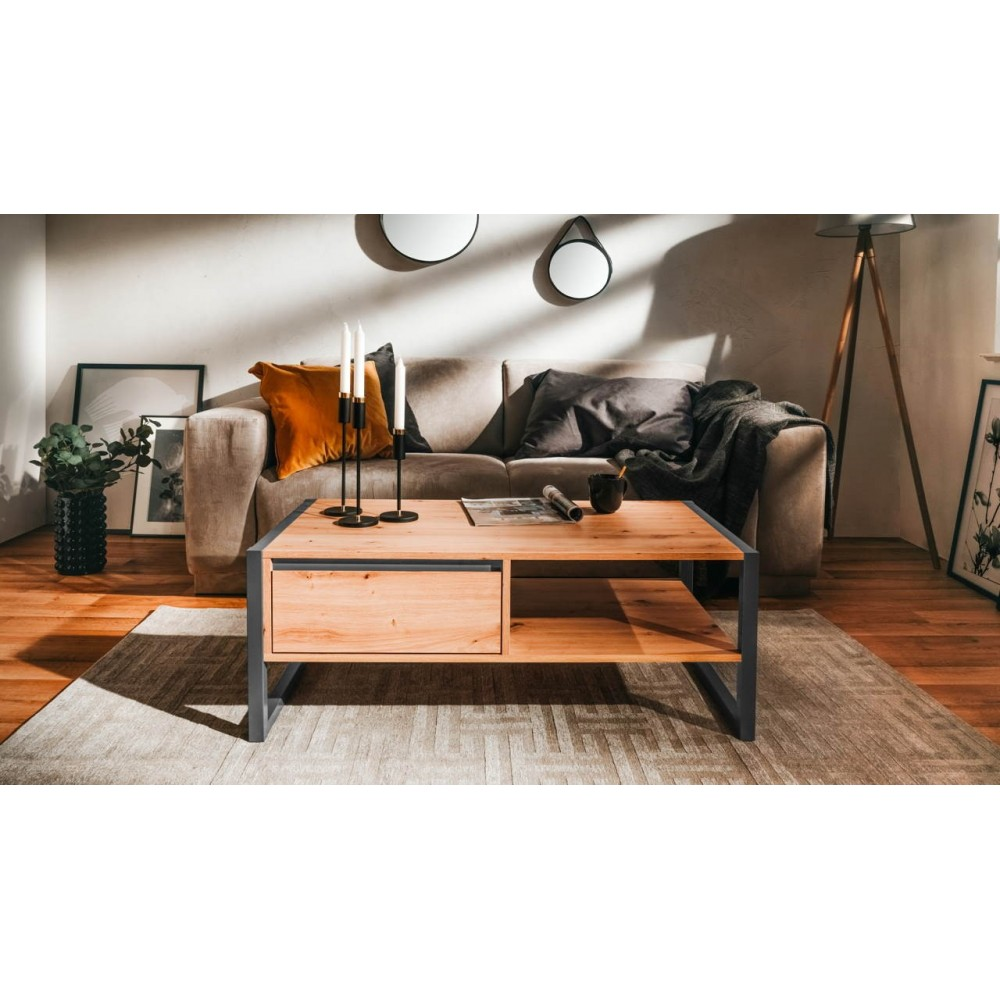 Tavolino da salotto L100xP55XH40 quercia antracite Denver 55