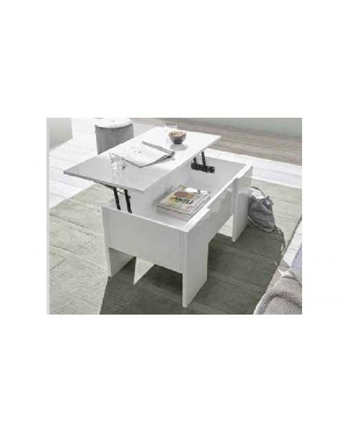 Tavolino basso con piano elevabile e contenitore Ridder bianco lucido