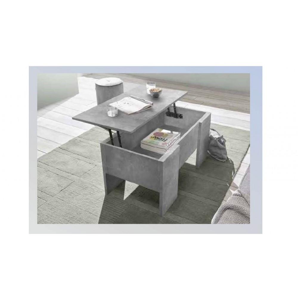 Tavolino basso con piano elevabile e contenitore Ridder cemento
